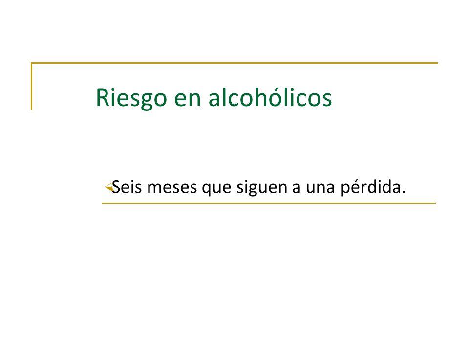Riesgo en alcohólicos × Seis meses que siguen a una pérdida.
