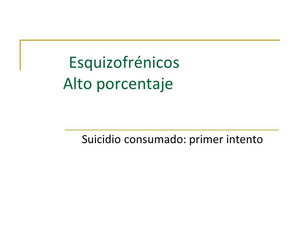 Esquizofrénicos Alto porcentaje Suicidio consumado: primer intento