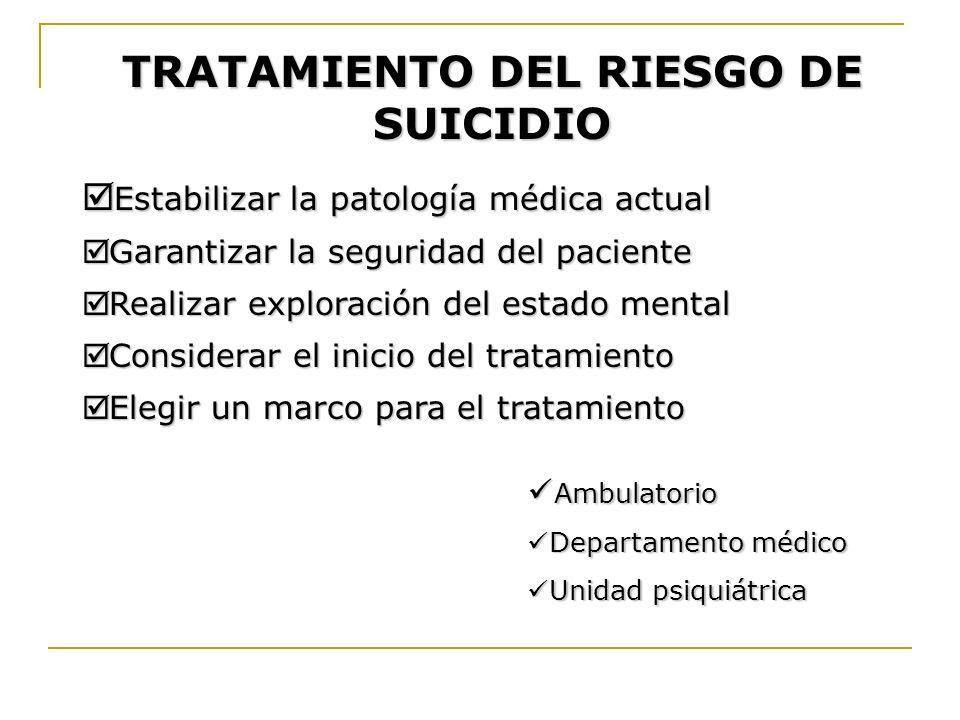 TRATAMIENTO DEL RIESGO DE SUICIDIO Estabilizar la patología médica actual Estabilizar la patología médica actual Garantizar la seguridad del paciente