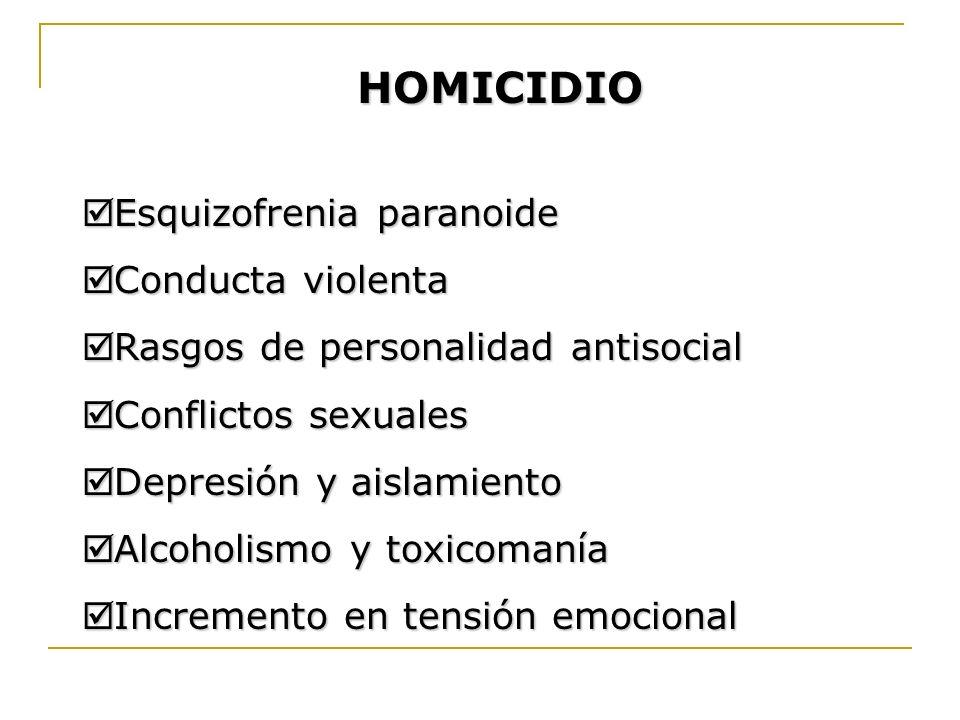 HOMICIDIO Esquizofrenia paranoide Esquizofrenia paranoide Conducta violenta Conducta violenta Rasgos de personalidad antisocial Rasgos de personalidad