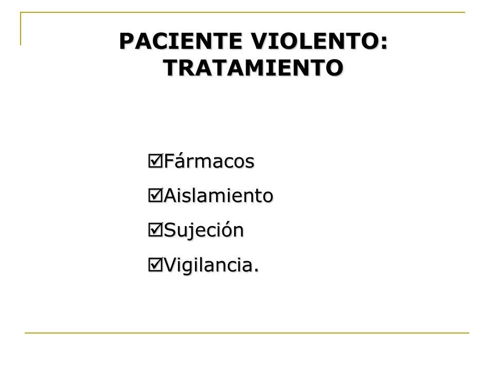 PACIENTE VIOLENTO: TRATAMIENTO Fármacos Fármacos Aislamiento Aislamiento Sujeción Sujeción Vigilancia. Vigilancia.