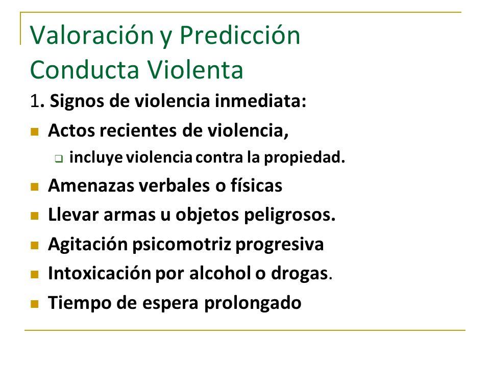 Valoración y Predicción Conducta Violenta 1. Signos de violencia inmediata: Actos recientes de violencia, incluye violencia contra la propiedad. Amena
