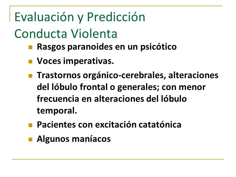 Evaluación y Predicción Conducta Violenta Rasgos paranoides en un psicótico Voces imperativas. Trastornos orgánico-cerebrales, alteraciones del lóbulo