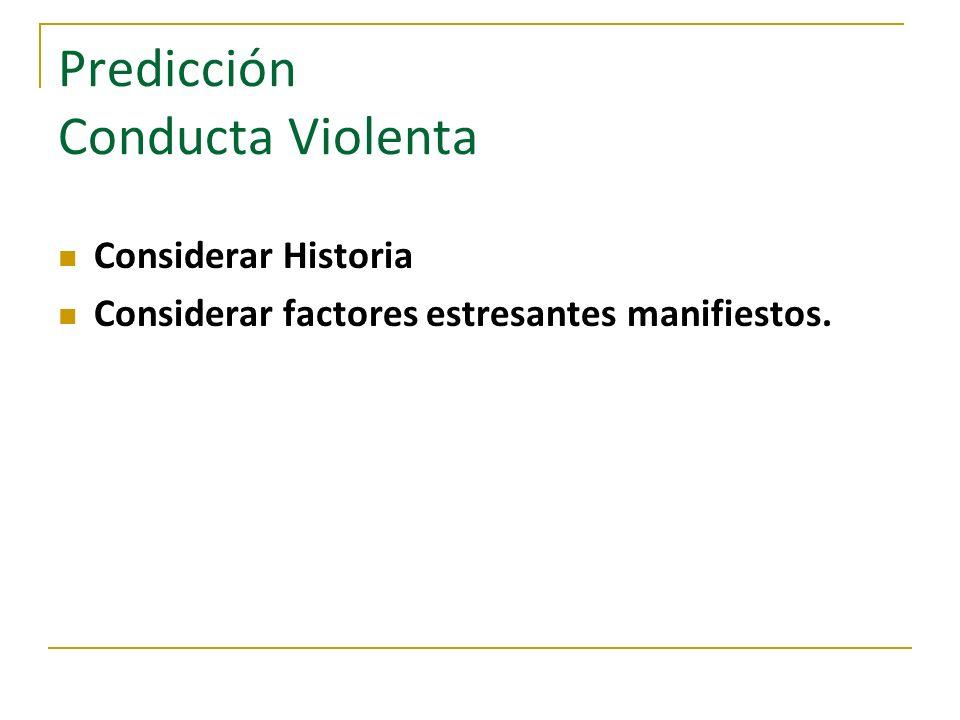 Predicción Conducta Violenta Considerar Historia Considerar factores estresantes manifiestos.