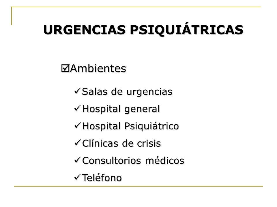 URGENCIAS PSIQUIÁTRICAS Ambientes Ambientes Salas de urgencias Salas de urgencias Hospital general Hospital general Hospital Psiquiátrico Hospital Psi