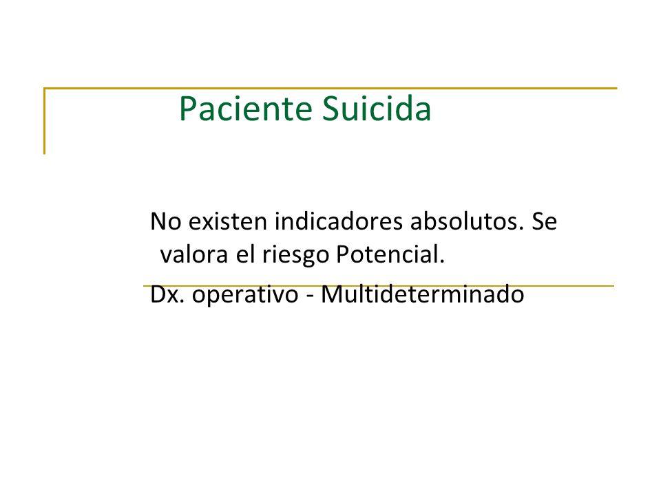 Paciente Suicida No existen indicadores absolutos. Se valora el riesgo Potencial. Dx. operativo - Multideterminado