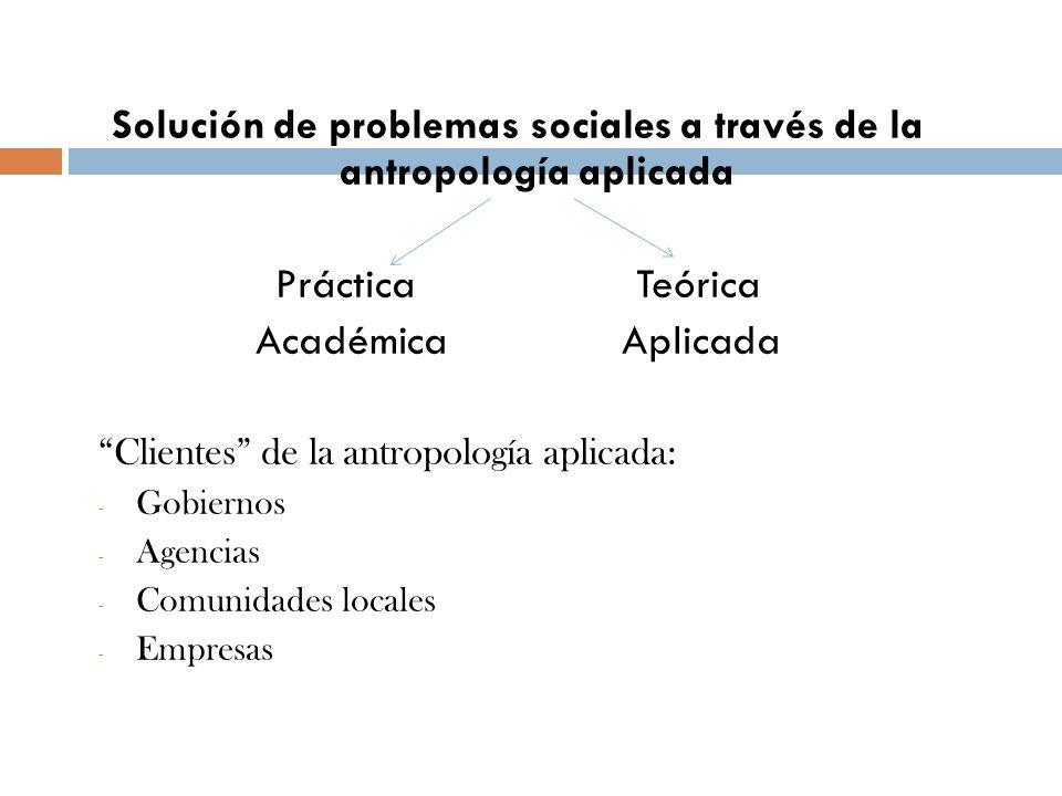 Solución de problemas sociales a través de la antropología aplicada Práctica Teórica Académica Aplicada Clientes de la antropología aplicada: - Gobier