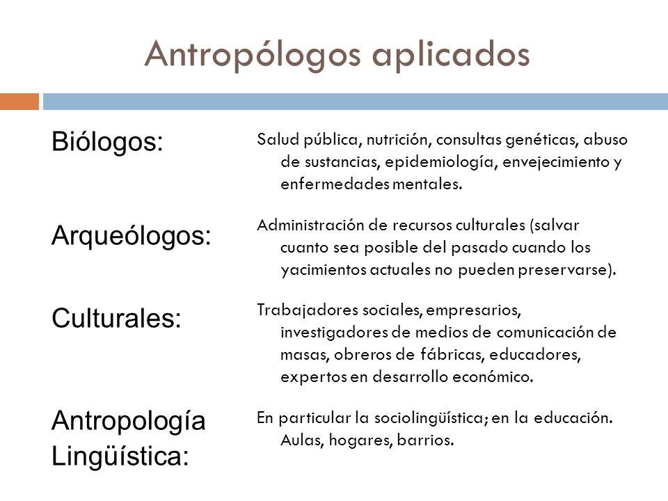 Antropólogos aplicados Biólogos: Arqueólogos: Culturales: Antropología Lingüística: Salud pública, nutrición, consultas genéticas, abuso de sustancias