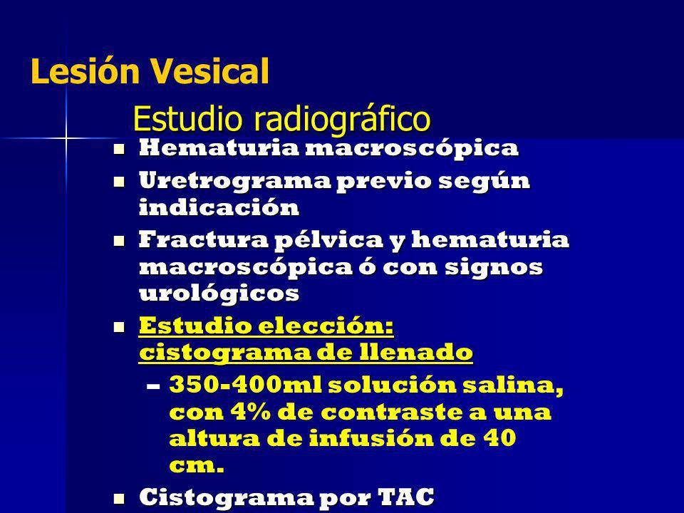Estudio radiográfico Hematuria macroscópica Hematuria macroscópica Uretrograma previo según indicación Uretrograma previo según indicación Fractura pé