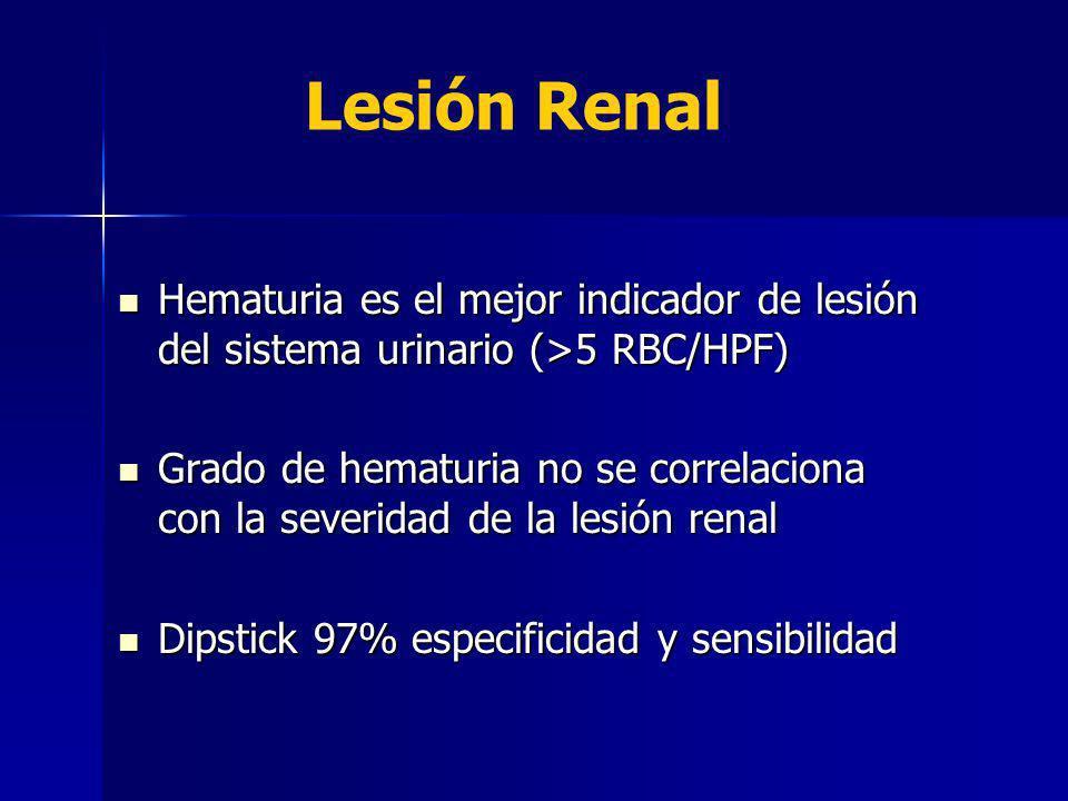Hematuria es el mejor indicador de lesión del sistema urinario (>5 RBC/HPF) Hematuria es el mejor indicador de lesión del sistema urinario (>5 RBC/HPF