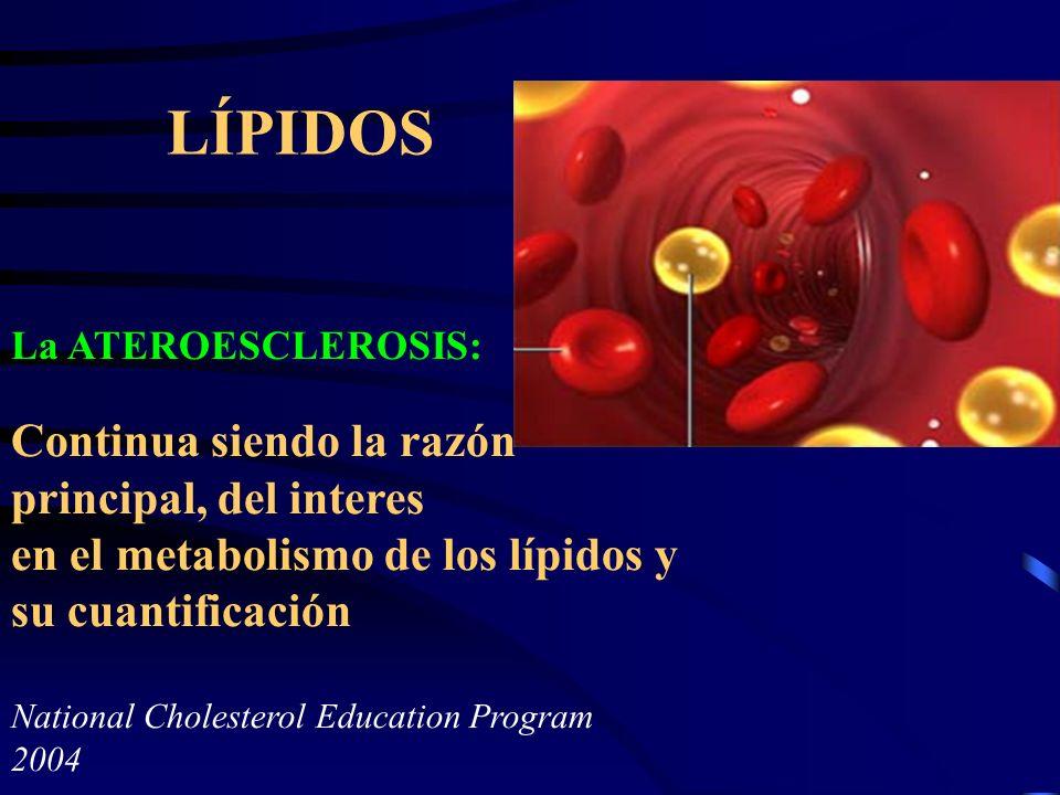 LÍPIDOS La ATEROESCLEROSIS: Continua siendo la razón principal, del interes en el metabolismo de los lípidos y su cuantificación National Cholesterol