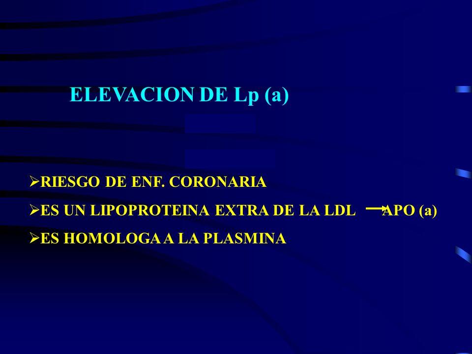 ELEVACION DE Lp (a) RIESGO DE ENF. CORONARIA ES UN LIPOPROTEINA EXTRA DE LA LDL APO (a) ES HOMOLOGA A LA PLASMINA