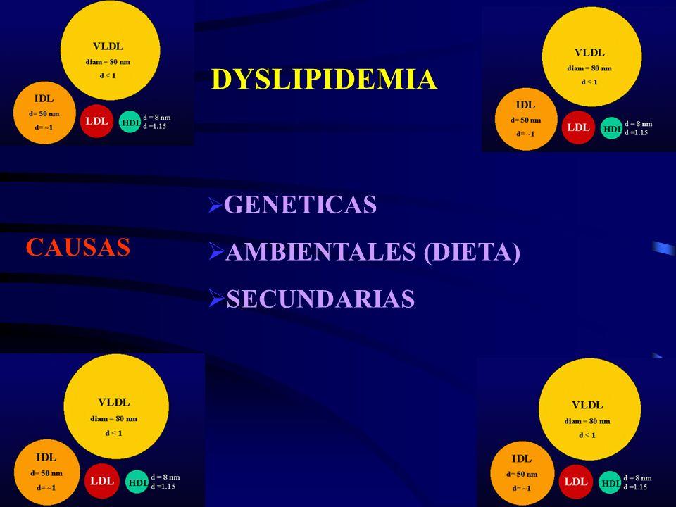 DYSLIPIDEMIA CAUSAS GENETICAS AMBIENTALES (DIETA) SECUNDARIAS