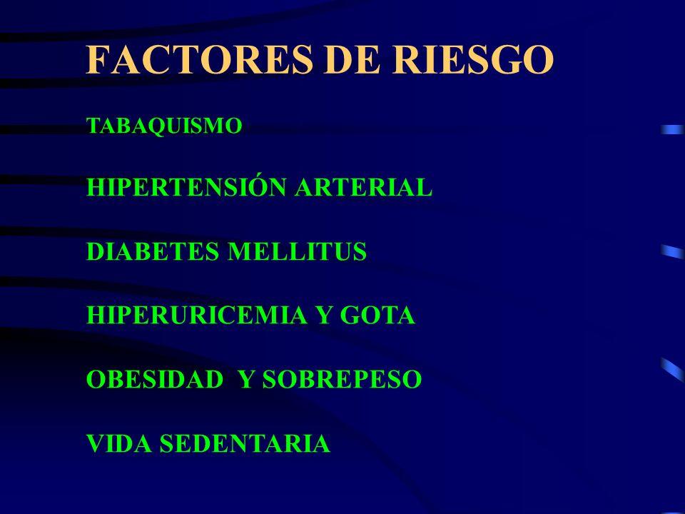 FACTORES DE RIESGO TABAQUISMO HIPERTENSIÓN ARTERIAL DIABETES MELLITUS HIPERURICEMIA Y GOTA OBESIDAD Y SOBREPESO VIDA SEDENTARIA