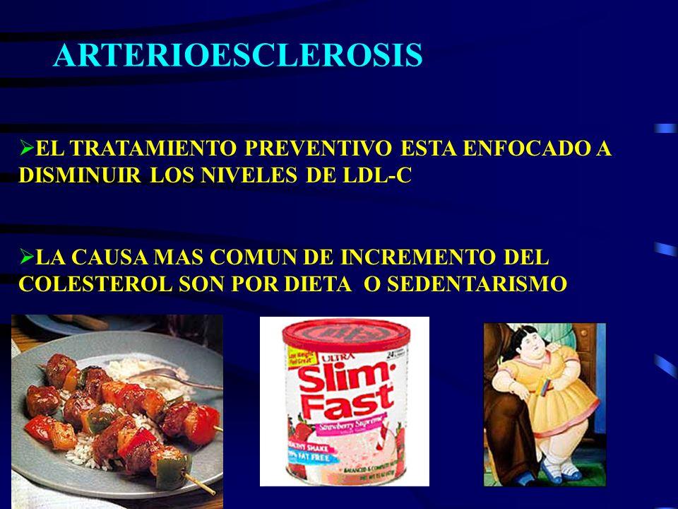 EL TRATAMIENTO PREVENTIVO ESTA ENFOCADO A DISMINUIR LOS NIVELES DE LDL-C LA CAUSA MAS COMUN DE INCREMENTO DEL COLESTEROL SON POR DIETA O SEDENTARISMO
