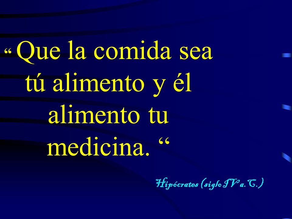 Que la comida sea tú alimento y él alimento tu medicina. Hipócrates (siglo IV a.C.)