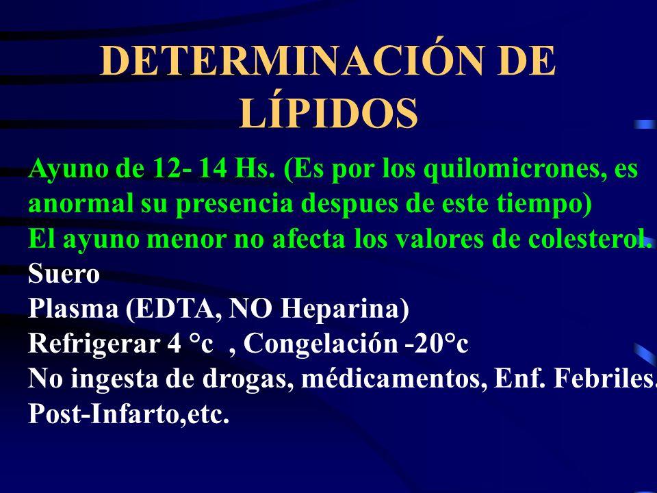 DETERMINACIÓN DE LÍPIDOS Ayuno de 12- 14 Hs. (Es por los quilomicrones, es anormal su presencia despues de este tiempo) El ayuno menor no afecta los v