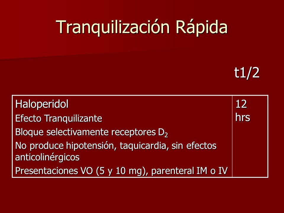 Tranquilización Rápida Haloperidol Efecto Tranquilizante Bloque selectivamente receptores D 2 No produce hipotensión, taquicardia, sin efectos anticol