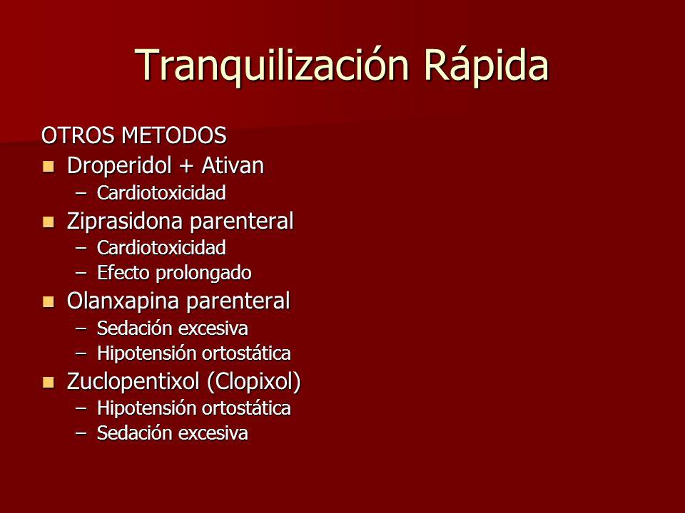 Tranquilización Rápida OTROS METODOS Droperidol + Ativan Droperidol + Ativan –Cardiotoxicidad Ziprasidona parenteral Ziprasidona parenteral –Cardiotox