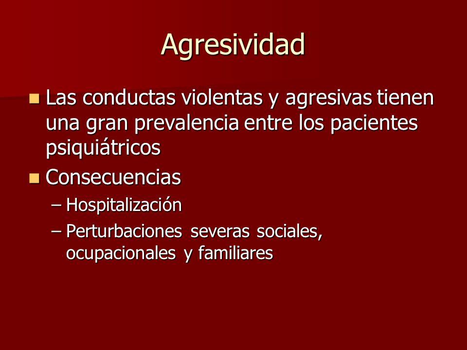 Agresividad Las conductas violentas y agresivas tienen una gran prevalencia entre los pacientes psiquiátricos Las conductas violentas y agresivas tien