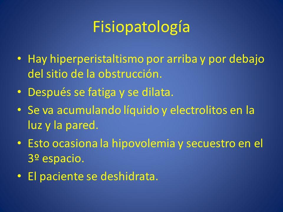 Fisiopatología Hay hiperperistaltismo por arriba y por debajo del sitio de la obstrucción. Después se fatiga y se dilata. Se va acumulando líquido y e