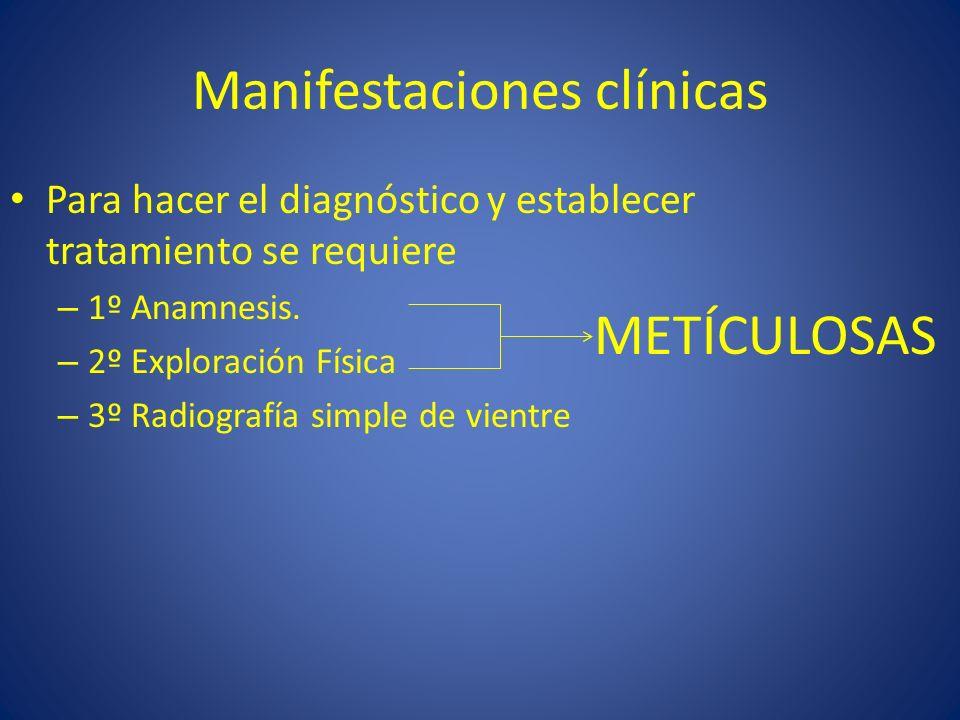Manifestaciones clínicas Para hacer el diagnóstico y establecer tratamiento se requiere – 1º Anamnesis. – 2º Exploración Física – 3º Radiografía simpl