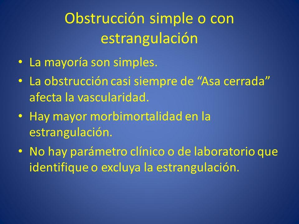 Obstrucción simple o con estrangulación La mayoría son simples. La obstrucción casi siempre de Asa cerrada afecta la vascularidad. Hay mayor morbimort