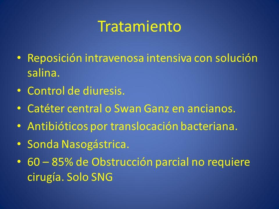 Tratamiento Reposición intravenosa intensiva con solución salina. Control de diuresis. Catéter central o Swan Ganz en ancianos. Antibióticos por trans