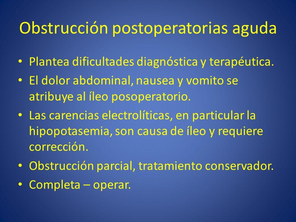 Obstrucción postoperatorias aguda Plantea dificultades diagnóstica y terapéutica. El dolor abdominal, nausea y vomito se atribuye al íleo posoperatori