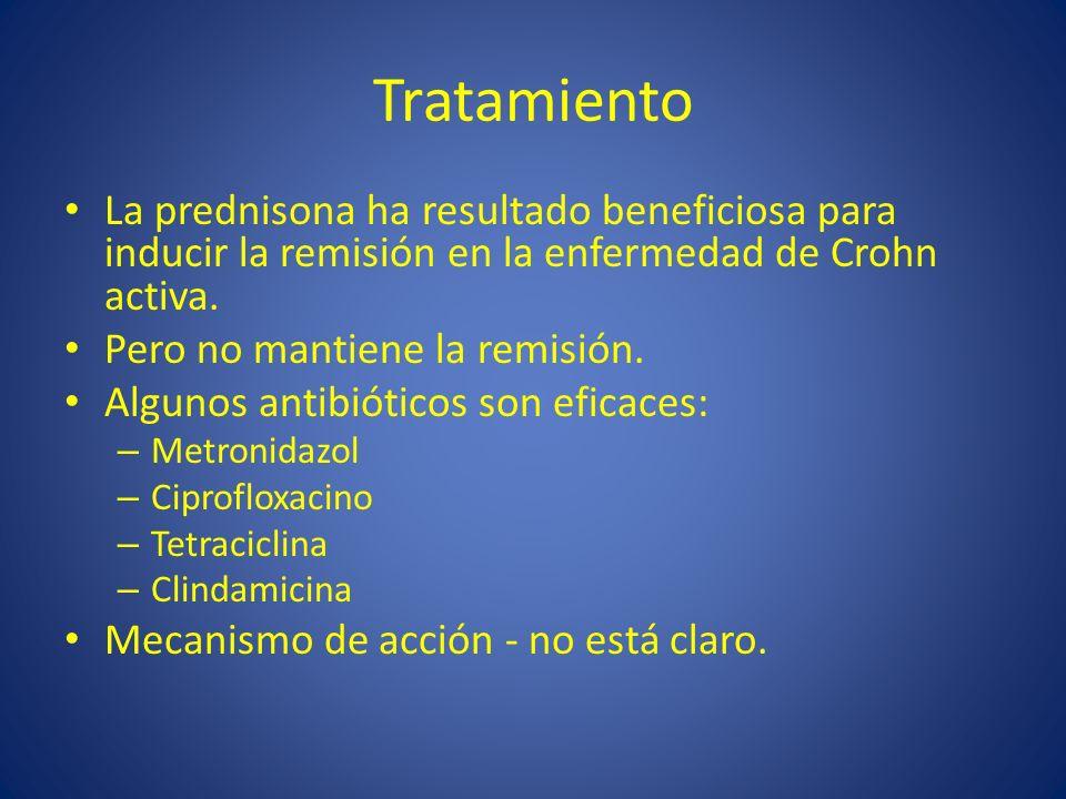 Tratamiento La prednisona ha resultado beneficiosa para inducir la remisión en la enfermedad de Crohn activa. Pero no mantiene la remisión. Algunos an