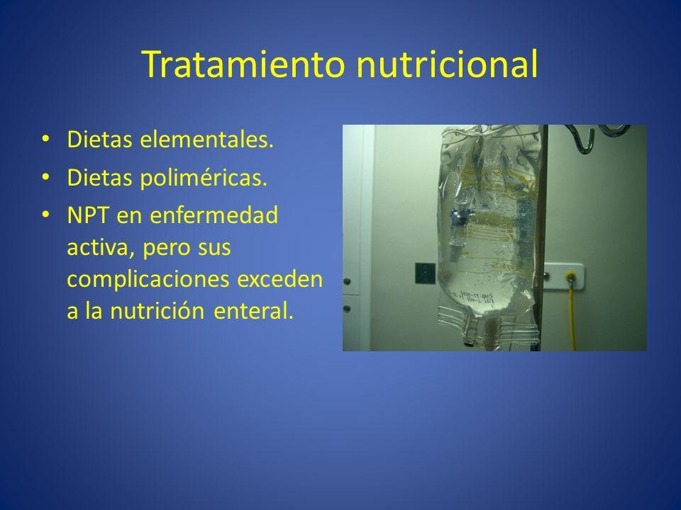 Tratamiento nutricional Dietas elementales. Dietas poliméricas. NPT en enfermedad activa, pero sus complicaciones exceden a la nutrición enteral.