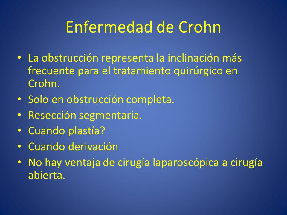 Enfermedad de Crohn La obstrucción representa la inclinación más frecuente para el tratamiento quirúrgico en Crohn. Solo en obstrucción completa. Rese
