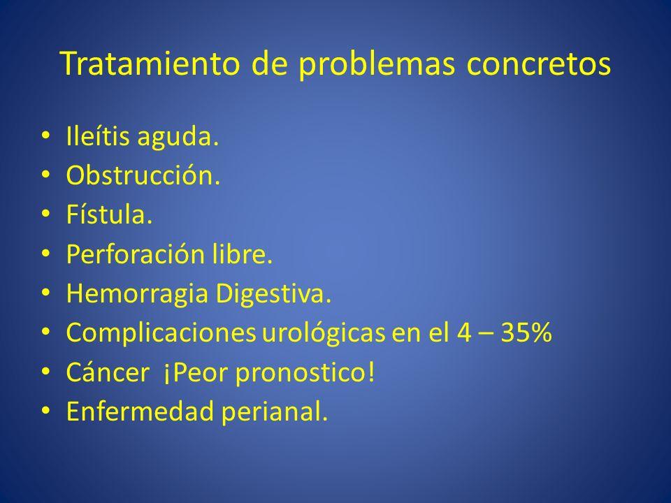 Tratamiento de problemas concretos Ileítis aguda. Obstrucción. Fístula. Perforación libre. Hemorragia Digestiva. Complicaciones urológicas en el 4 – 3