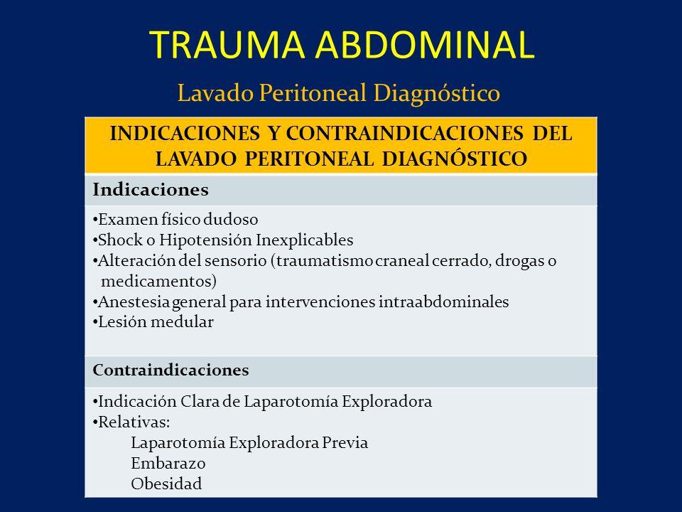 Lavado Peritoneal Diagnóstico TRAUMA ABDOMINAL INDICACIONES Y CONTRAINDICACIONES DEL LAVADO PERITONEAL DIAGNÓSTICO Indicaciones Examen físico dudoso S