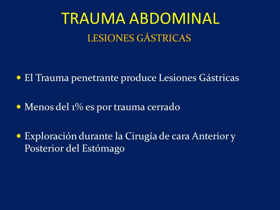 El Trauma penetrante produce Lesiones Gástricas Menos del 1% es por trauma cerrado Exploración durante la Cirugía de cara Anterior y Posterior del Est