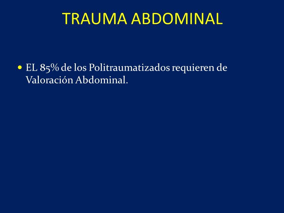 EL 85% de los Politraumatizados requieren de Valoración Abdominal. TRAUMA ABDOMINAL