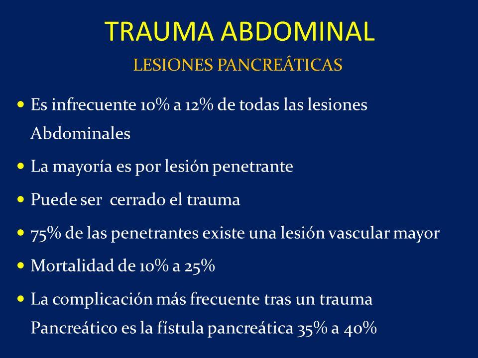 Es infrecuente 10% a 12% de todas las lesiones Abdominales La mayoría es por lesión penetrante Puede ser cerrado el trauma 75% de las penetrantes exis