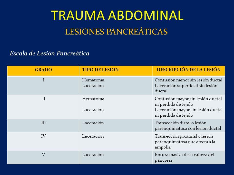 TRAUMA ABDOMINAL LESIONES PANCREÁTICAS GRADOTIPO DE LESIONDESCRIPCIÓN DE LA LESIÓN IHematoma Laceración Contusión menor sin lesión ductal Laceración s