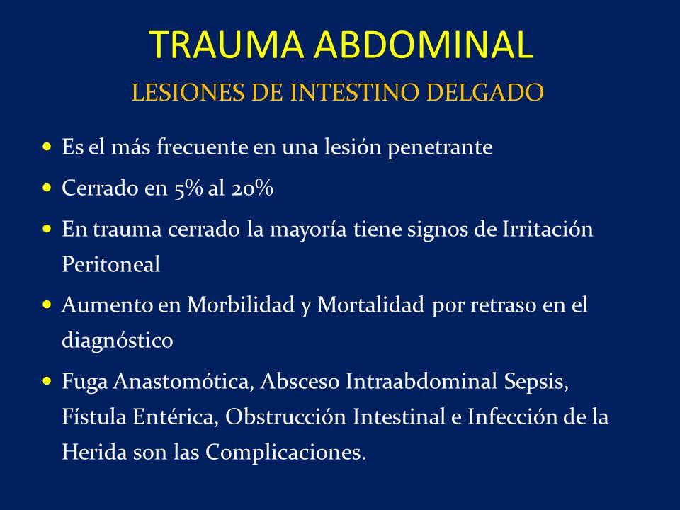 Es el más frecuente en una lesión penetrante Cerrado en 5% al 20% En trauma cerrado la mayoría tiene signos de Irritación Peritoneal Aumento en Morbil