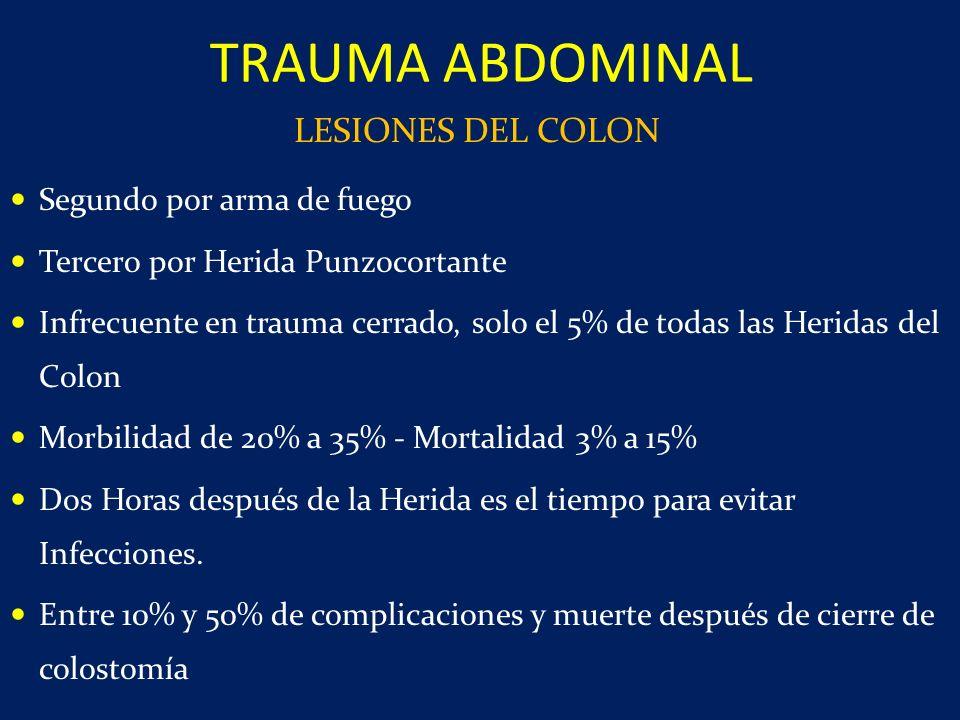 Segundo por arma de fuego Tercero por Herida Punzocortante Infrecuente en trauma cerrado, solo el 5% de todas las Heridas del Colon Morbilidad de 20%