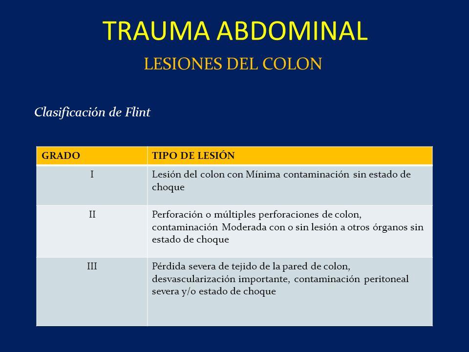 TRAUMA ABDOMINAL LESIONES DEL COLON GRADOTIPO DE LESIÓN ILesión del colon con Mínima contaminación sin estado de choque IIPerforación o múltiples perf
