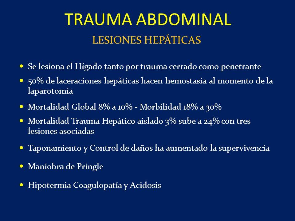 Se lesiona el Hígado tanto por trauma cerrado como penetrante 50% de laceraciones hepáticas hacen hemostasia al momento de la laparotomía Mortalidad G