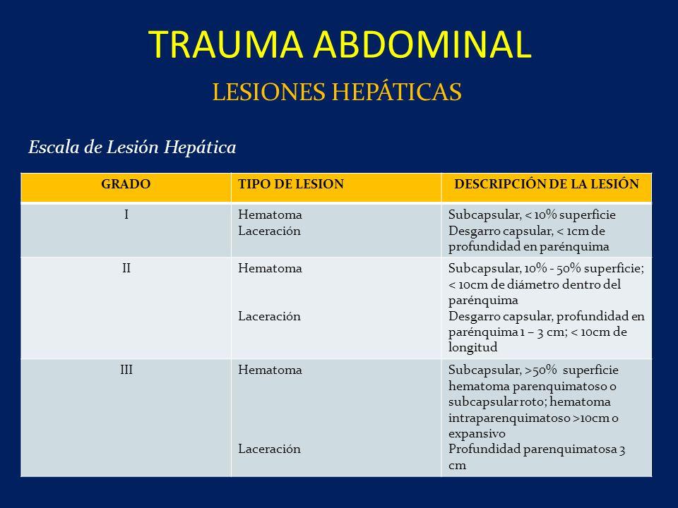 TRAUMA ABDOMINAL LESIONES HEPÁTICAS GRADOTIPO DE LESIONDESCRIPCIÓN DE LA LESIÓN IHematoma Laceración Subcapsular, < 10% superficie Desgarro capsular,