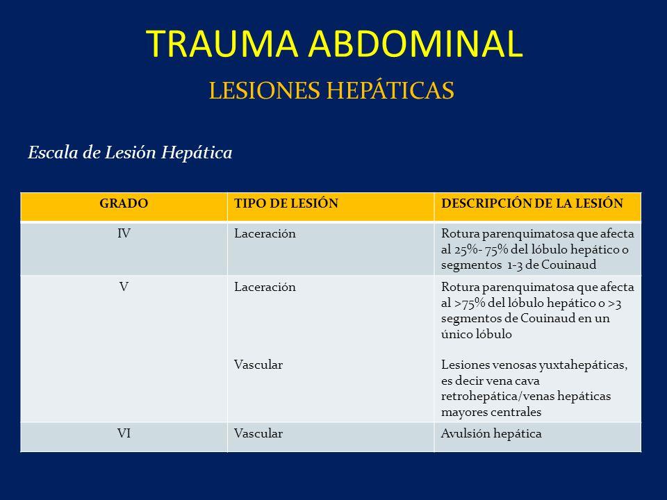 TRAUMA ABDOMINAL LESIONES HEPÁTICAS GRADOTIPO DE LESIÓNDESCRIPCIÓN DE LA LESIÓN IVLaceraciónRotura parenquimatosa que afecta al 25%- 75% del lóbulo he