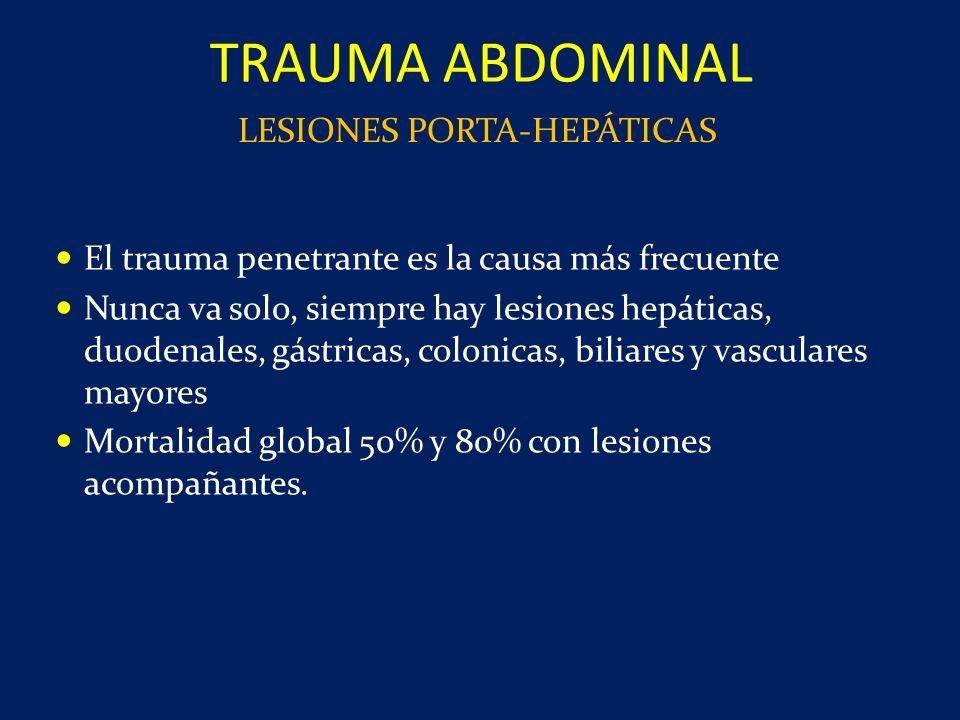 El trauma penetrante es la causa más frecuente Nunca va solo, siempre hay lesiones hepáticas, duodenales, gástricas, colonicas, biliares y vasculares