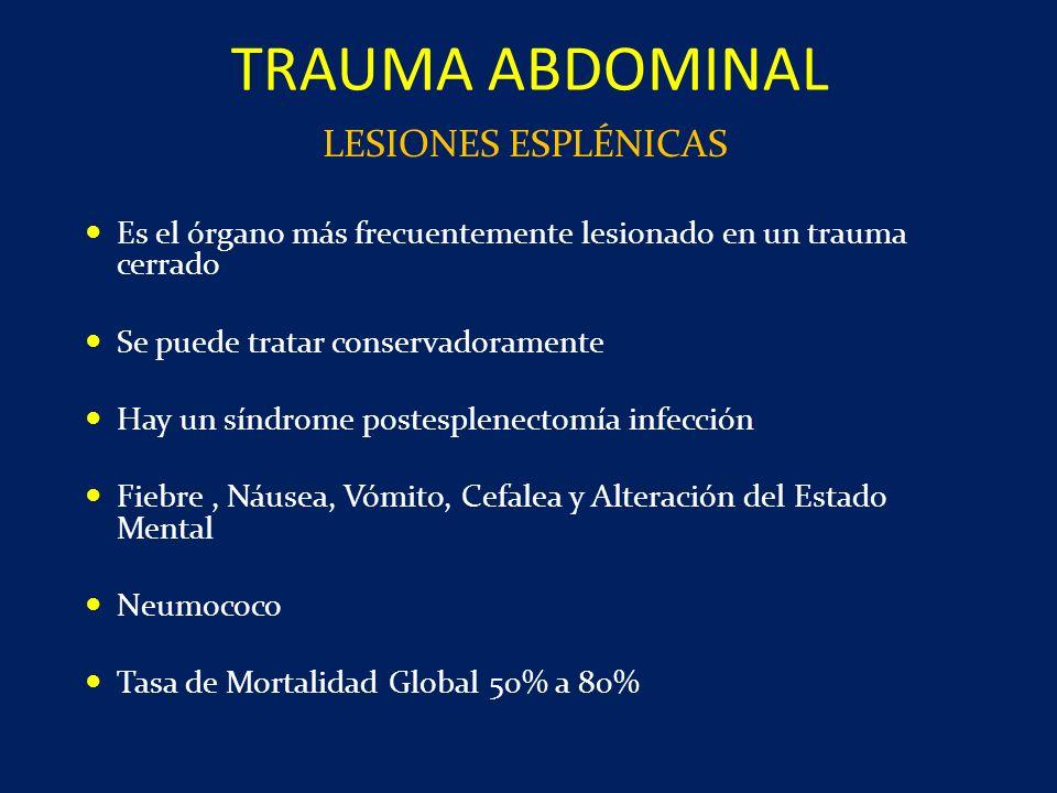 Es el órgano más frecuentemente lesionado en un trauma cerrado Se puede tratar conservadoramente Hay un síndrome postesplenectomía infección Fiebre, N