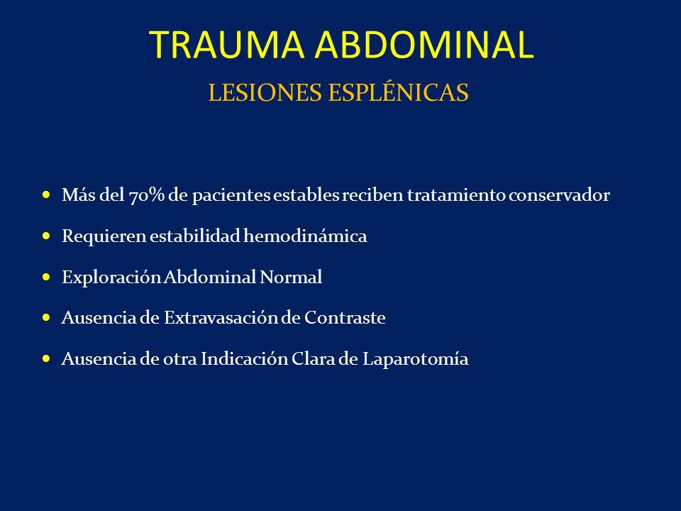Más del 70% de pacientes estables reciben tratamiento conservador Requieren estabilidad hemodinámica Exploración Abdominal Normal Ausencia de Extravas