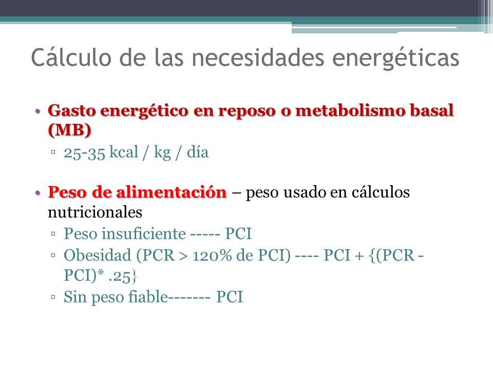 Gasto energético en reposo o metabolismo basal (MB)Gasto energético en reposo o metabolismo basal (MB) 25-35 kcal / kg / día Peso de alimentaciónPeso