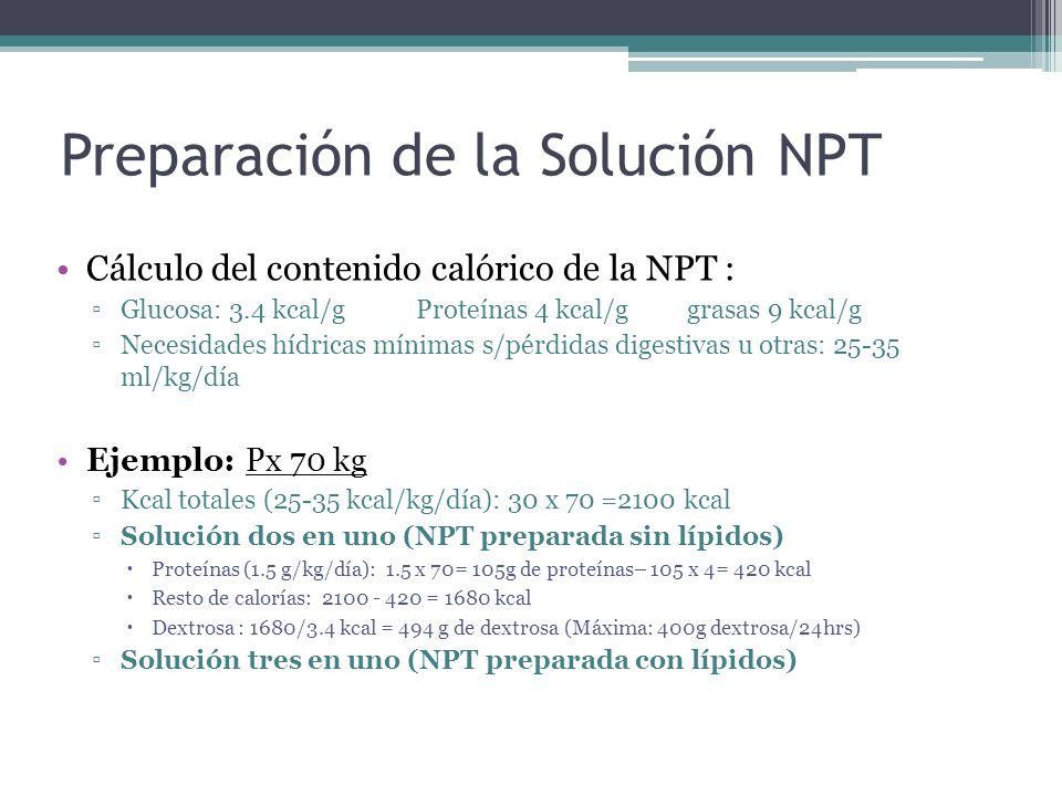 Preparación de la Solución NPT Cálculo del contenido calórico de la NPT : Glucosa: 3.4 kcal/g Proteínas 4 kcal/g grasas 9 kcal/g Necesidades hídricas
