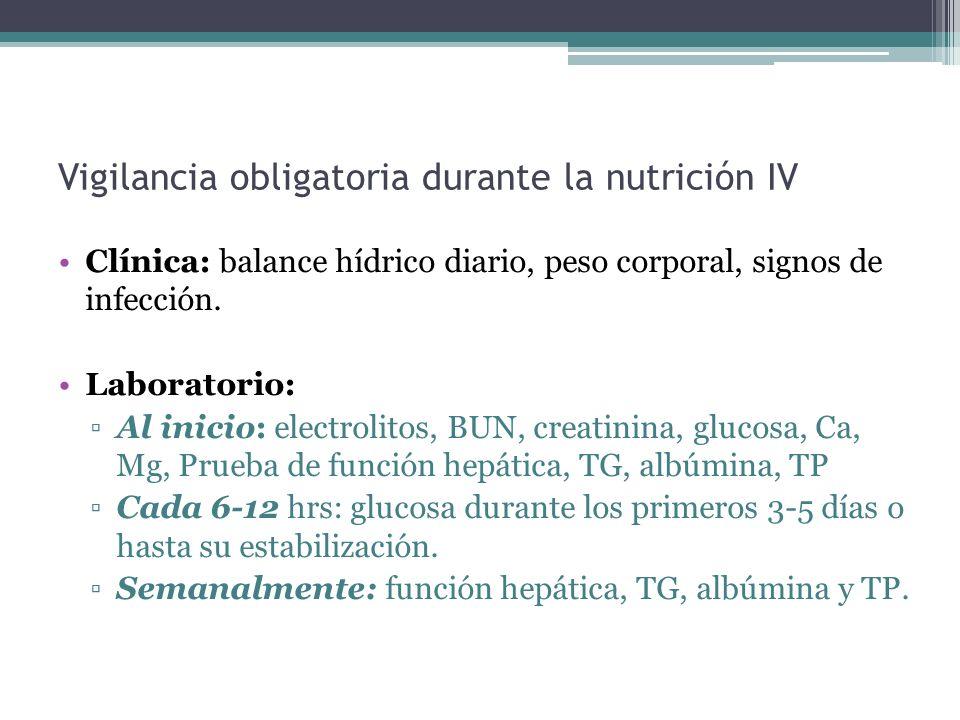 Vigilancia obligatoria durante la nutrición IV Clínica: balance hídrico diario, peso corporal, signos de infección. Laboratorio: Al inicio: electrolit